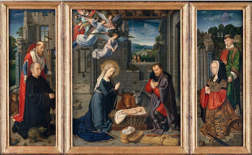 картина на алтаре 16-го века работы Герарда Давида, изображающая рождение Христа